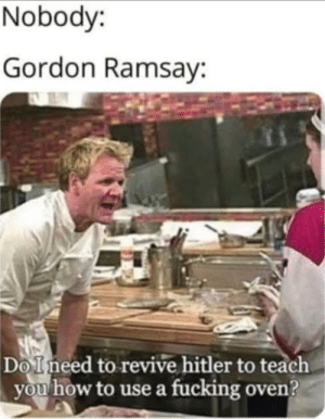 awesomesthesia:  Use ovens: Nobody:  Gordon Ramsay:  Do Ineed to revive hitler to teach  you how to use a fucking oven? awesomesthesia:  Use ovens