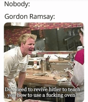: Nobody:  Gordon Ramsay:  DoIneed to revive hitler to teach  you how to use a fucking oven?