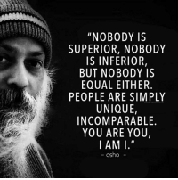 "Memes, Superior, and 🤖: ""NOBODY IS  SUPERIOR, NOBODY  IS INFERIOR,  BUT NOBODY IS  EQUAL EITHER.  PEOPLE ARE SIMPLY  UNIQUE,  INCOMPARABLE  YOU ARE YOU,  I AM I.""  WALLTOSHAREGOM  - osho"