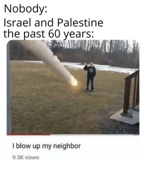 Controversy time: Nobody:  Israel and Palestine  the past 60 years:  I blow up my neighbor  9.3K views Controversy time