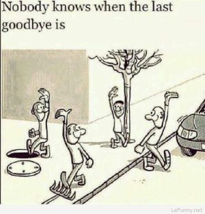Funny goodbye comichttp://omg-humor.tumblr.com: Nobody knows when the last  goodbye is  LeFunny.net Funny goodbye comichttp://omg-humor.tumblr.com