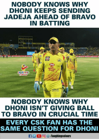 #MSDhoni #DwyaneBravo #CSKvKKR: NOBODY KNOWS WHY  DHONI KEEPS SENDING  JADEJA AHEAD OF BRAVO  IN BATTING  The  Group  AUGHING  ROCON  NOBODY KNOWs WHY  DHONI ISN'T GIVING BALL  TO BRAVO IN CRUCIAL TIME  EVERY CSK FAN HAS THE  SAME QUESTION FOR DHON  a 2  回ヴ/laughingcolours #MSDhoni #DwyaneBravo #CSKvKKR