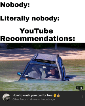 youtube.com, Free, and How To: Nobody:  Literally nobody:  YouTube  Recommendations:  1:15  OLIVE  How to wash your car for free  Oliver Amon 1M views 1 month ago YouTube is broken