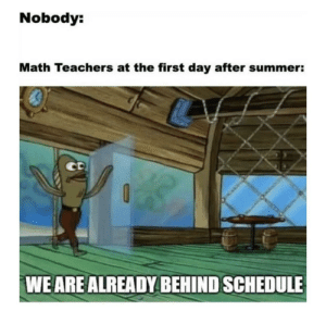 Yes all the time: Nobody:  Math Teachers at the first day after summer:  CD  WE ARE ALREADY BEHIND SCHEDULE Yes all the time
