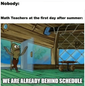 ARE YA READY KIDS: Nobody:  Math Teachers at the first day after summer:  CD  WE ARE ALREADY BEHIND SCHEDULE ARE YA READY KIDS