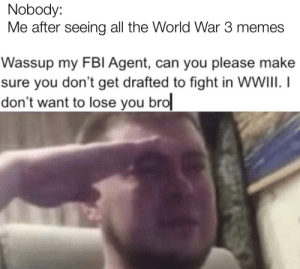 Stay with me: Nobody:  Me after seeing all the World War 3 memes  Wassup my FBI Agent, can you please make  sure you don't get drafted to fight in WWIII. I  don't want to lose you bro Stay with me