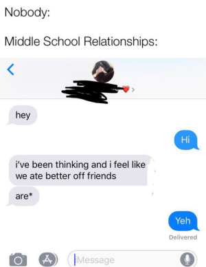 Nobody Middle School Relationships Hey Hi I Ve Been Thinking And I Feel Like We Ate Better Off Friends Are Yeh Delivered Message Accurate Friends Meme On Me Me