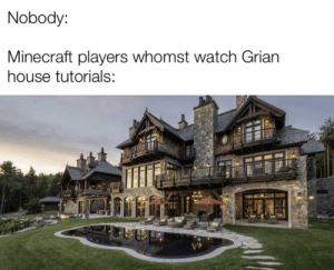 Nobody Minecraft Players Whomst Watch Grian House Tutorials An Interesting Title But It Has More Words Minecraft Meme On Me Me