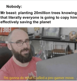 He must have planned it: Nobody:  Mr beast: planting 20million trees knowing  that literally everyone is going to copy him  effectively saving the planet  FIRE  THIN  I'm gonna do what's called a pro-gamer move. He must have planned it