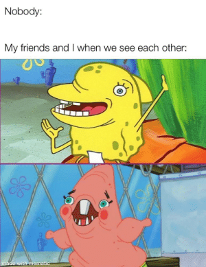 Friends, Made, and In a Nutshell: Nobody:  My friends and I when we see each other:  made with mematic me in a nutshell