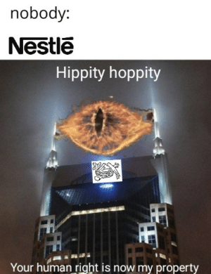 Fam, Reddit, and Say No More: nobody:  Nestle  Hippity hoppity  Your human right is now my property Say no more fam