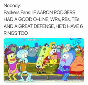 Aaron Rodgers, Nfl, and Good: Nobody:  Packers Fans: IF AARON RODGERS  HAD A GOOD O-LINE, WRs, RBs, TEs  AND A GREAT DEFENSE, HE'D HAVE 6  RINGS TOO  MEMESOFNFL  NW