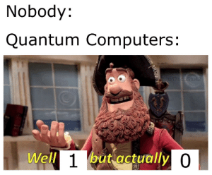from r/memes: Nobody:  Quantum Computers:  u/DiscoStu42  Well 1but actually 0 from r/memes