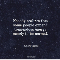 camus: Nobody realizes that  some people expend  tremendous energy  merely to be normal  Albert Camus  word ables.