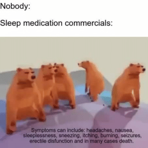 Death, Dreams, and Sleep: Nobody:  Sleep medication commercials:  Symptoms can include: headaches, nausea,  sleeplessness, sneezing, itching, burning, seizures,  erectile disfunction and in many cases death. Sweet Dreams