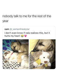Cute😍: nobody talk to me for the rest of the  year  sam @_samanthaskylar  i don't even know if nala realizes this, but it  hurts my heart Cute😍