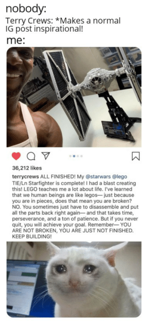 Lego, Life, and Terry Crews: nobody:  Terry Crews: *Makes a normal  IG post inspirational!  me:  36,212 likes  terrycrews ALL FINISHED! My @starwars @lego  TIE/Ln Starfighter is complete! I had a blast creating  this! LEGO teaches me a lot about life. I've learned  that we human beings are like legos- just because  you are in pieces, does that mean you are broken?  NO. You sometimes just have to disassemble and put  all the parts back right again- and that takes time,  perseverance, and a ton of patience. But if you never  quit, you will achieve your goal. Remember- YOU  ARE NOT BROKEN, YOU ARE JUST NOT FINISHED.  KEEP BUILDING!  ww Me_irl