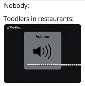 Toddler memes: Nobody:  Toddlers in restaurants:  u/Morthyz  Volume  )) Toddler memes