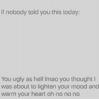 Memes, Mood, and Ugly: nobody told you this today:  You ugly as hell Imao you thought  was about to lighten your mood and  warm your heart oh no no no