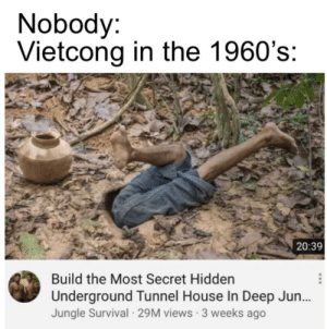History, House, and Hidden: Nobody:  Vietcong in the 1960's:  20:39  Build the Most Secret Hidden  Underground Tunnel House In Deep Jun...  Jungle Survival 29M views 3 weeks ago This how it be