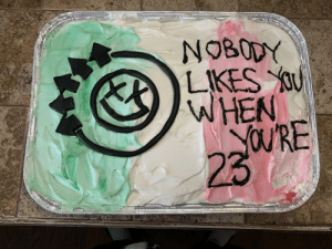 This is the cake my girlfriend made me for my birthday: NOBODY  WHEN  23 This is the cake my girlfriend made me for my birthday