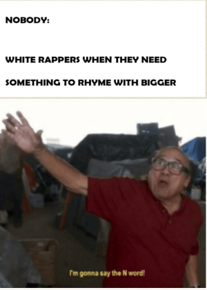I dare you to say it in the comments: NOBODY:  WHITE RAPPERS WHEN THEY NEED  SOMETHING TO RHYME WITH BIGGER  I'm gonna say the N word! I dare you to say it in the comments