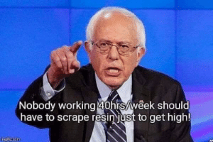 Bernie, Working, and Get: Nobody working 40hrs/week should  have to scrape resinjust to get high!  imatipcom Bernie has had it with these Forgewold prices