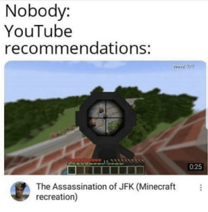 Assassination, Minecraft, and youtube.com: Nobody:  YouTube  recommendations:  025  The Assassination of JFK (Minecraft  recreation) Youtube is broken