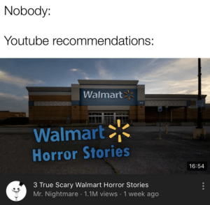 Nobody Youtube Recommendations Walmart Walmart Horror Stories 1654 3 True Scary Walmart Horror Stories Mr Nightmare 11m Views 1 Week Ago Walmart Horor Stories True Meme On Me Me A lot never knew we did a true scary story collab so i found the original audio and record. meme