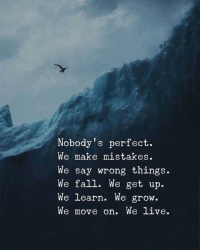 Fall, Live, and Mistakes: Nobody's perfect.  We make mistakes.  We say wrong things.  We fall. We get up.  We learn. We grow.  We move on. We live.