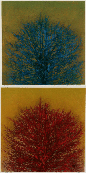 nobrashfestivity:      Joichi  Hoshi, Treetop (blue and red versions), 1973Woodblock print on gold metallic background: nobrashfestivity:      Joichi  Hoshi, Treetop (blue and red versions), 1973Woodblock print on gold metallic background