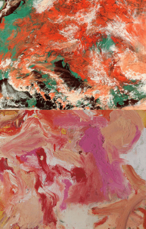 nobrashfestivity:  NASA, Satellite photo of a snowstorm over the Mediterranean  Willem de Kooning, Untitled, (detail) : nobrashfestivity:  NASA, Satellite photo of a snowstorm over the Mediterranean  Willem de Kooning, Untitled, (detail)
