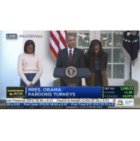 """Church, Dad, and Funny:  #NoChillVines  LIVE  S&P 500 2,090.52  HAPPENING  PRES. OBAMA  I CHANGE +1.38  NOW PARDON TURKEYS  CHANGE +0.07%  ver Financial (DFS) 56.94A0.13 Church & Dwight (CHD) 87.16 0.53  H PACIFIC  00A0.02 First Solar (FSLR) 56.64 A0.47 First Trust ETF (FV) 23.75 A0. C Obama makes dad joke.😭😭 Daughters: """"That was good."""" happyThanksgiving"""
