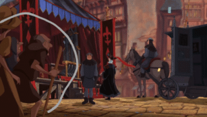 In the Hunchback of Notre Dame (1996), an old man shakes his head disapprovingly at Frollo, showing how he is secretly despised: NODOLO In the Hunchback of Notre Dame (1996), an old man shakes his head disapprovingly at Frollo, showing how he is secretly despised