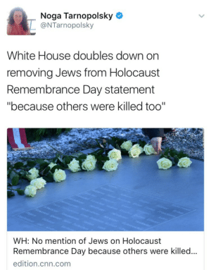 "All Lives Matter, cnn.com, and Fucking: Noga Tarnopolsky  @NTarnopolsky  White House doubles down on  removing Jews from Holocaust  Remembrance Day statement  ""because others were killed too""  WH: No mention of Jews on Holocaust  Remembrance Day because others were killed..  edition.cnn.com since1938:  weavemama: They pulled an ""all lives matter"" on the fucking Holocaust……  How the fuck y'all continue to deny the antisemitism in this administration is beyond me"
