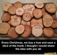 Funny, Trunks, and Tree: noil  2018  Zoo  2013  Every Christmas, we buy a tree and save a  slice of the trunk. I thought I would share  the idea with you all.  ifunny.CO