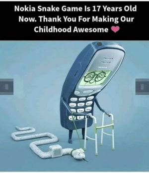 snake game: Nokia Snake Game Is 17 Years Old  Now. Thank You For Making Our  Childhood Awesome