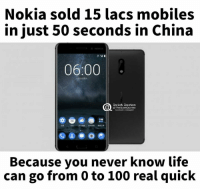 0 to 100, Anaconda, and Life: Nokia sold 15 lacs mobiles  in just 50 seconds in China  06:00  Quiet Quotes  @TheQuiet Quotes  Because you never know life  can go from 0 to 100 real quick Nokia