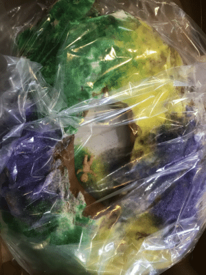 NOLA - first time experiencing a King cake. Was excited to try to find the little baby. This was little disappointing.: NOLA - first time experiencing a King cake. Was excited to try to find the little baby. This was little disappointing.