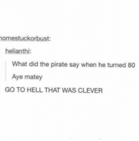 Memes, Pirate, and Hell: nomestuckorbust:  helianthi:  What did the pirate say when he turned 80  Aye matey  GOTO HELL THAT WAS CLEVER pirate metal is actually so fun like srsly yes i wanna go on an adventure - Max textpost textposts