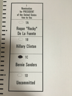 "Bernie Sanders, Hillary Clinton, and Rocky: Nomination  for PRESIDENT  of the United States  Vote for One  Roque ""Rocky""  De La Fuente  -·  Hillary Clinton  Bernie Sanders  Uncommitted geekswana:  c-bassmeow:  Finally. I hope Connecticut makes the right choice.  FYI: posting photos of your filled in ballot is illegal in many areas of the country. Make sure you're not doing anything illegal! Thanks for voting!   not in connecticut 3"