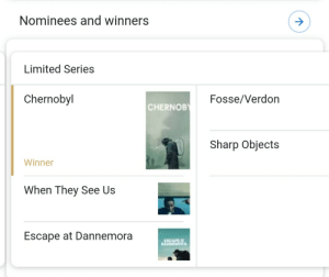 Let's hear it for the best hangover cure we could have had after the GOT series finale.: Nominees and winners  Limited Series  Chernobyl  Fosse/Verdon  CHERNOBY  Sharp Objects  Winner  When They See Us  Escape at Dannemora  CAP  DAEM Let's hear it for the best hangover cure we could have had after the GOT series finale.