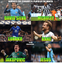 Memes, David Silva, and 🤖: NOMINEES FOR FEBRUARY PL PLAYEROFTHEMONTH:  ETIHAD  DAVID SILVA  MCAULEY  LURAKU  KANE  Credit  @Soccerclub  SportPesa  AKUPOVIC  JESUS Who should win February PremierLeague player of the month?👇🏼 1. DavidSilva 2. McAuley 3. Lukaku 4. Kane 5. Jakupovic 6. Jesus
