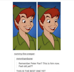 Peter Pan, Best, and Old: nommy-the-creepe  mmmhambone  Remember Peter Pan? This is him now.  Feel old yet??  THIS IS THE BEST ONE YET Why is Peter Pan always flying? Cause he Neverlands. Ahh this joke never gets old.