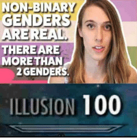 Anaconda, Memes, and Retarded: NON-BINARY  GENDERS  a  ARE REAL  THERE ARE  MORE THAN  2 GENDERS.  ILLUSION  100 peep hole r so retarded XD