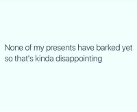 Memes, 🤖, and Impressed: None of my presents have barked yet  so that's kinda disappointing I'm not impressed 😒 goodgirlwithbadthoughts 💅🏼