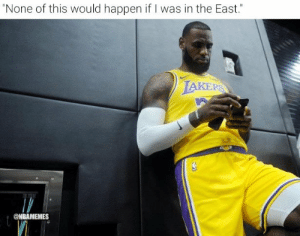 "LeBron James right now 😂  #Warriors #Raptors #NBAFinals https://t.co/PEGuUT3Rm1: ""None of this would happen if I was in the East.""  LAKERS  @NBAMEMES LeBron James right now 😂  #Warriors #Raptors #NBAFinals https://t.co/PEGuUT3Rm1"