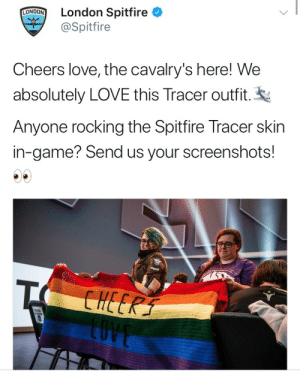 Love, Tumblr, and Ally: NOON London Spitfire  @Spitfire  Cheers love, the cavalry's here! We  absolutely LOVE this Tracer outfit.  Anyone rocking the Spitfire Tracer skin  in-game? Send us your screenshots! linkzr:london is an ally to the gays