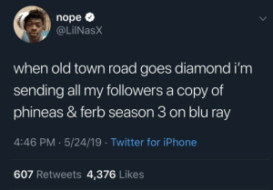 Dank, Iphone, and Memes: nope  @LİINaSX  when old town road goes diamond i'm  sending all my followers a copy of  phineas & ferb season 3 on blu ray  4:46 PM 5/24/19 Twitter for iPhone  607 Retweets 4,376 Likes A surprise to be sure, but a welcome one. by pseudosa MORE MEMES