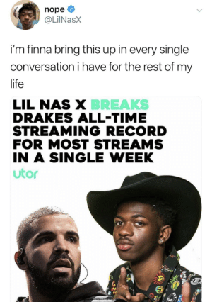 Dunk on 'em: nope  @LilNasX  i'm finna bring this up in every single  conversation i have for the rest of my  life  LIL NAS X BREAKS  DRAKES ALL-TIME  STREAMING RECORD  FOR MOST STREAMS  IN A SINGLE WEEK  utor Dunk on 'em